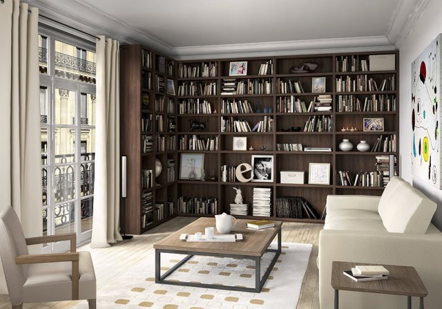 bibliothèque dans un appartement