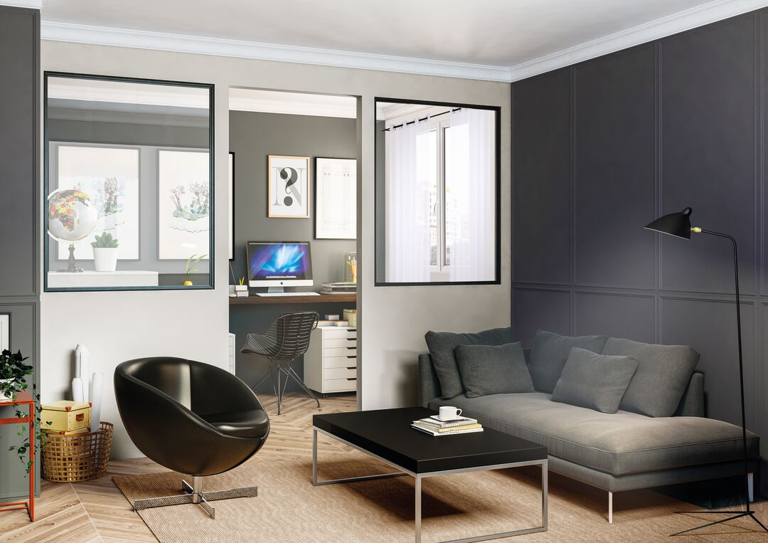 Salon avec espace bureau verrière