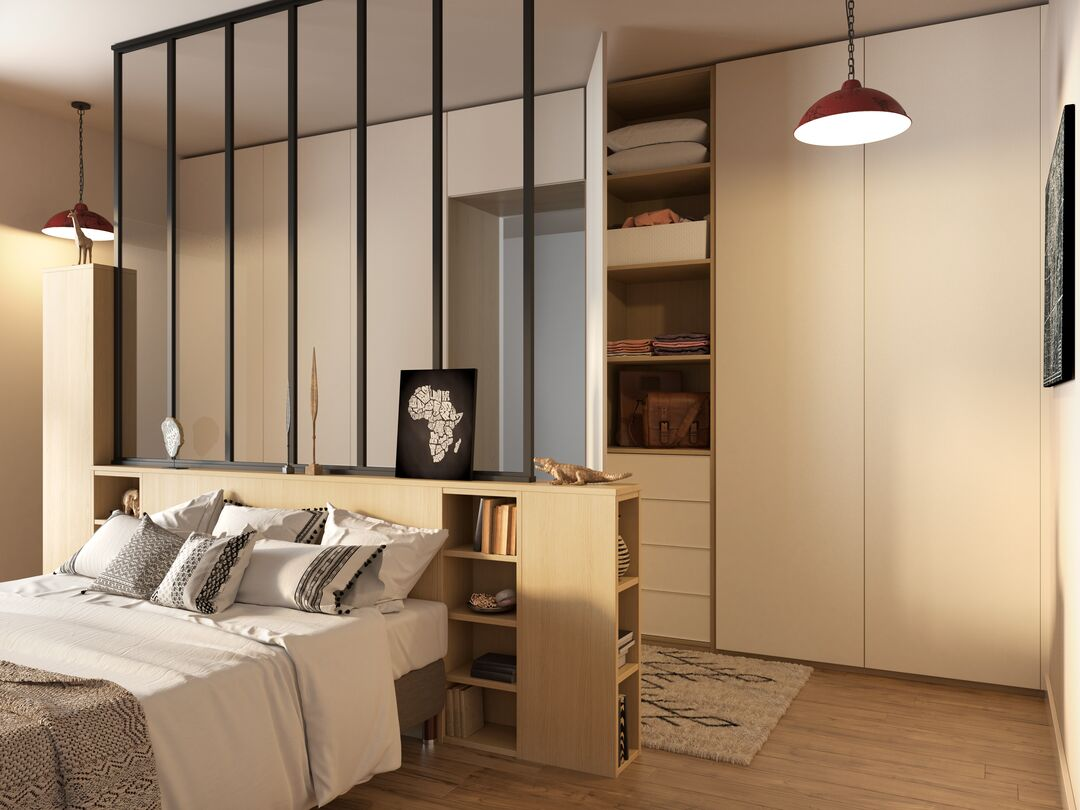 Chambre avec tête de lit verrière