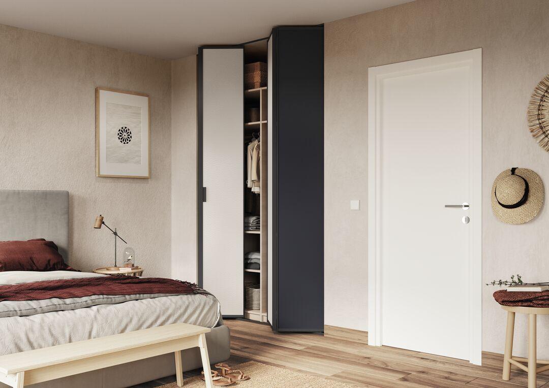 Chambre ethnique avec portes de placard pliantes